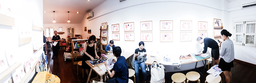 Panoramic shot of Knuckles & Notch Risograph Printing Studio, Singapore.