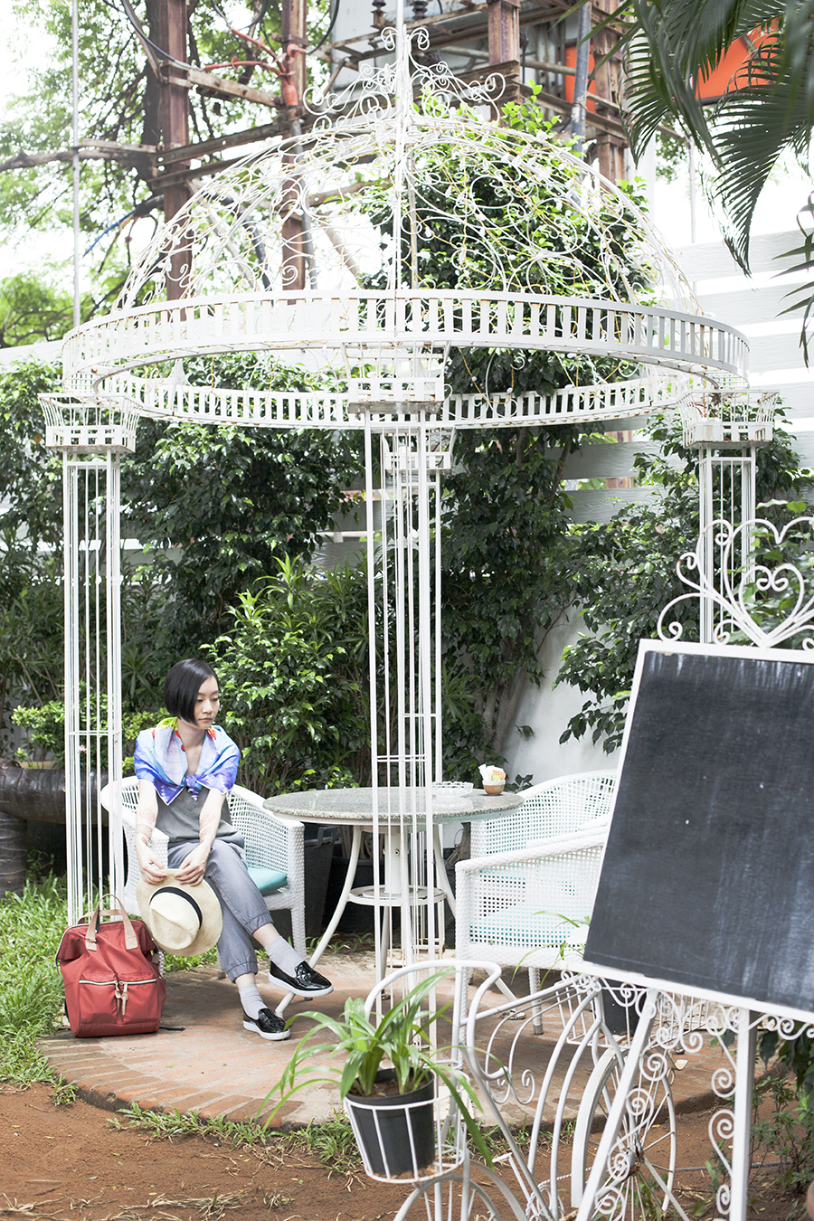 Lounging at the garden pavillion at The Brew Room, Chennai India.