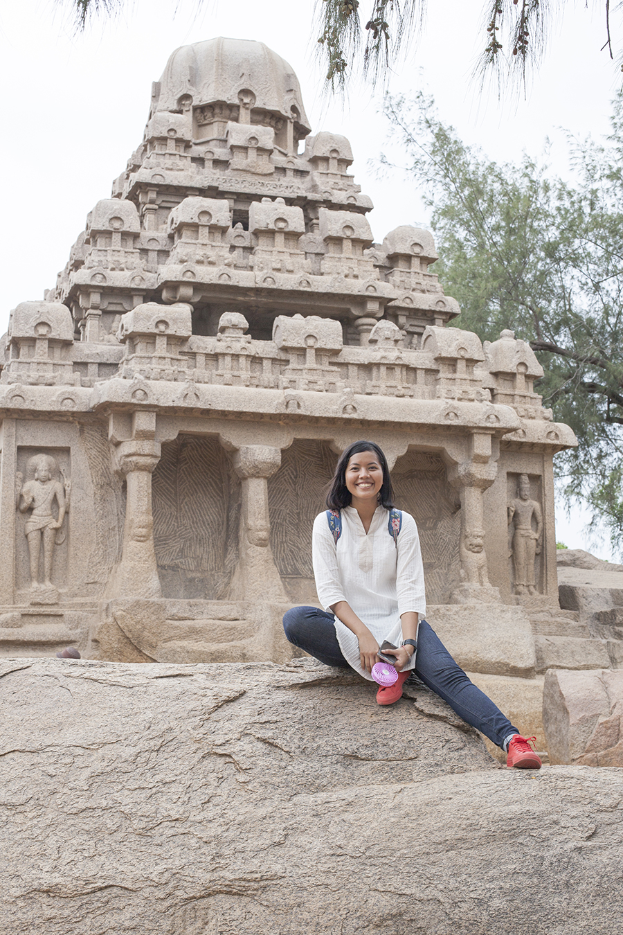 Shasha at 5 Rathas Mahabalipuran Chennai India.