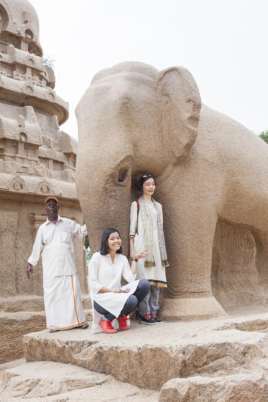 Photo of Shasha, Ren, and tour guide at the 5 Rathas, Mahabalipuram Chennai India.