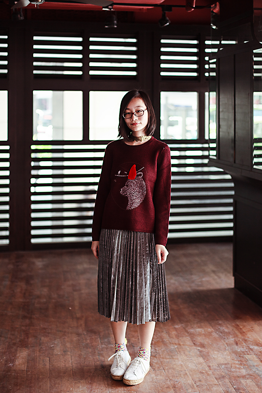 Zaful bear sweater, Shein silver pleated skirt, Zaful pompom socks, Kurt Geiger Lovebug white sneakers, Firmoo prescription glasses, Zaful gold metal lace choker necklace.