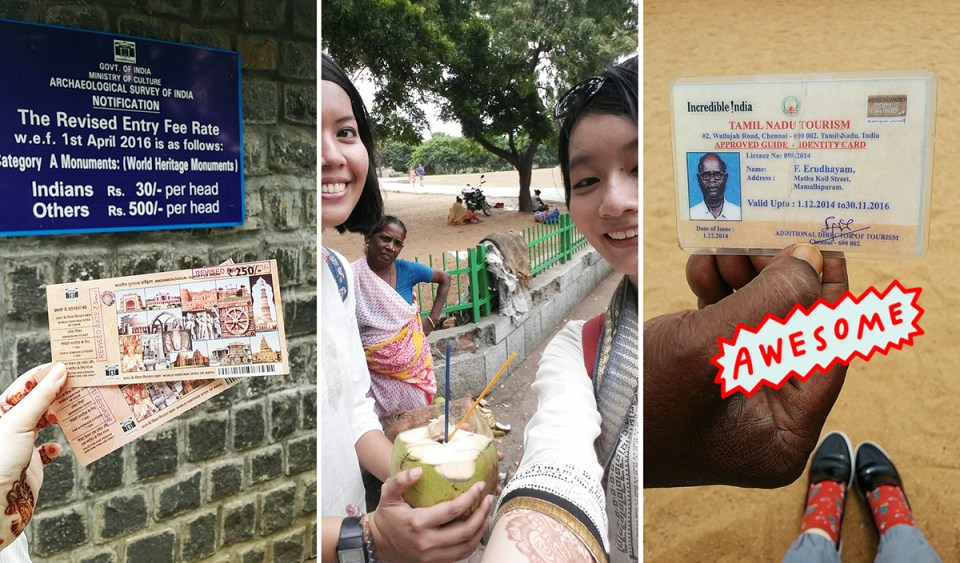 Snapchats in Chennai, India: Ticket to the World Heritage Sites, Drinking fresh coconut juice from a roadside stall, name card from our Mahabalipuram tour guide in Chennai, India.