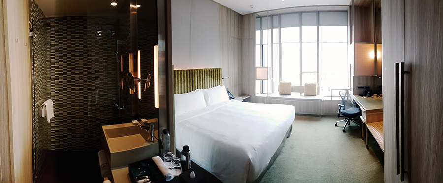 Panorama of Orchid Club Double Room on level 14 at hotel PARKROYAL on Pickering, Singapore.