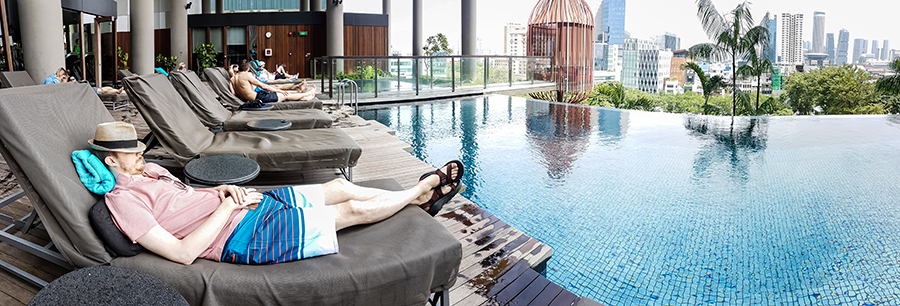 Panorama of Ottie lounging by the infinity pool at hotel PARKROYAL on Pickering, Singapore.