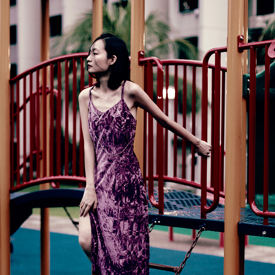 Lunar New Year outfit: Zaful fuschia Crushed Velvet Midi Cami Slip Dress, Zaful silver Triangle Body Chain.