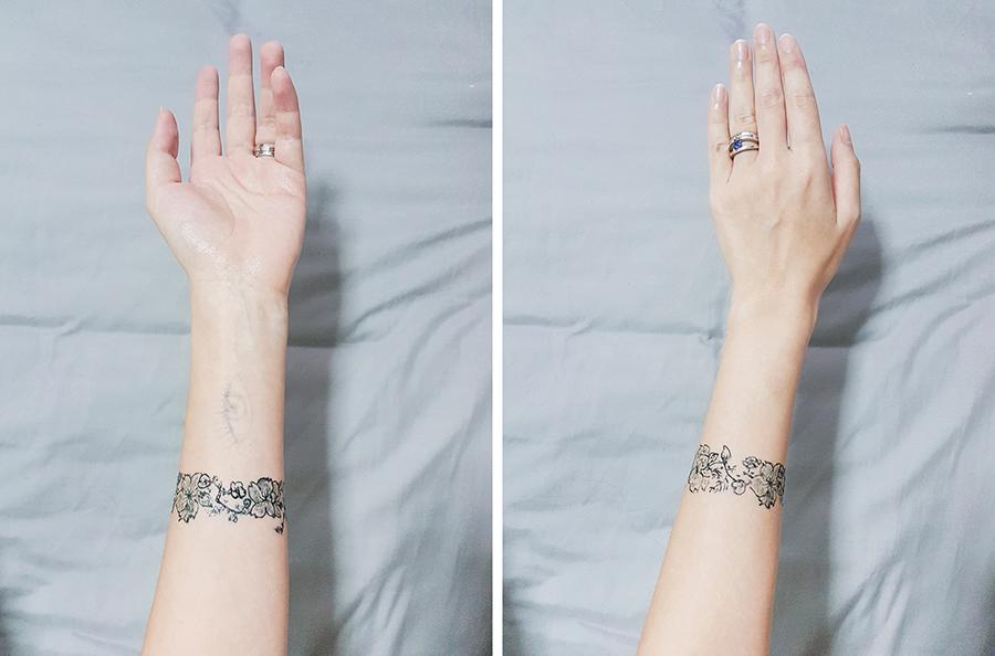 Inkbox Tattoo: sakura armband tattoo, plum blossom tattoo, cherry blossom tattoo, floral tattoo.