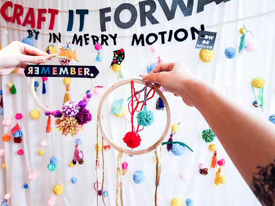 Final embroidery hoop mobile at In Merry Motion's Craft it Forward at PRESSPLAY 2017 Pop-Up Artisan Craft Party, library@orchard.