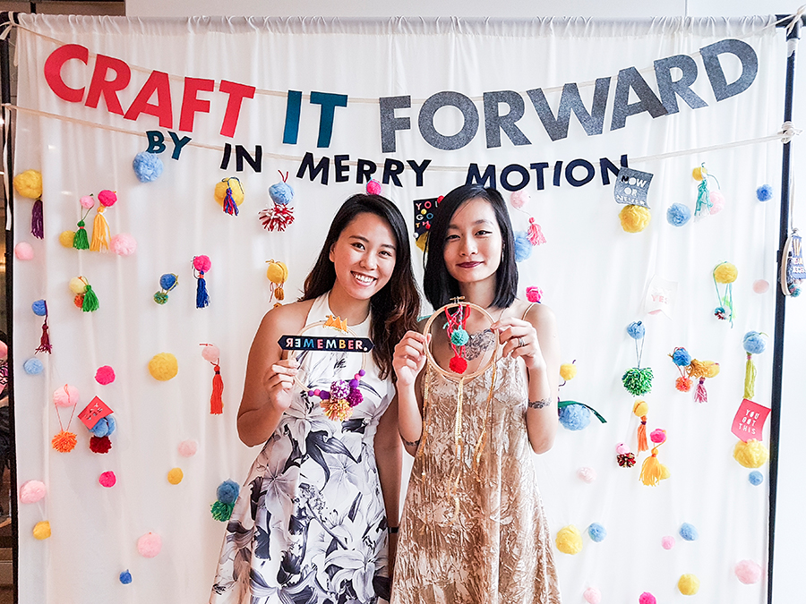 Jody and Ren with embroidery hoop mobile at In Merry Motion's Craft it Forward at PRESSPLAY 2017 Pop-Up Artisan Craft Party, library@orchard.