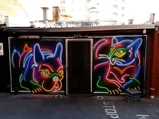 Neon lights mural in Perth Australia.