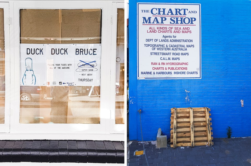 Duck Duck Bruce and The Chart and Map Shop in Fremantle Perth Australia.