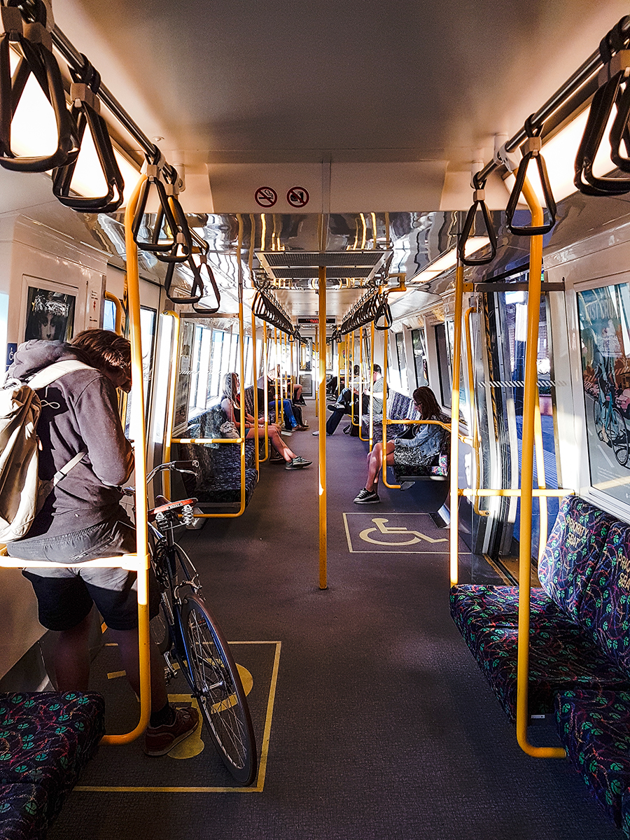 Inside of a train carriage in Perth Australia.