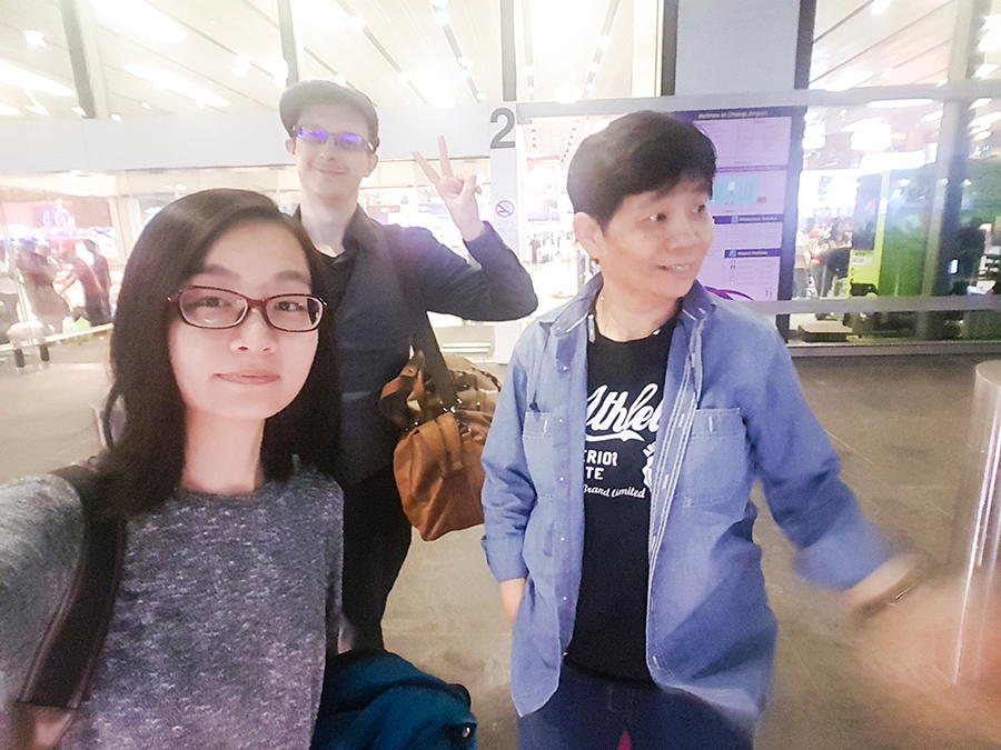 Selfie at Singapore Changi Airport before embarking on our flight to Tokyo.