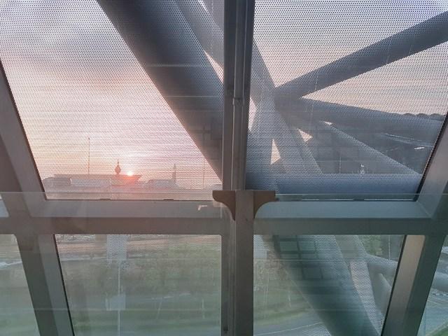 Sunrise at Suvarnabhumi airport in Bangkok, Thailand.