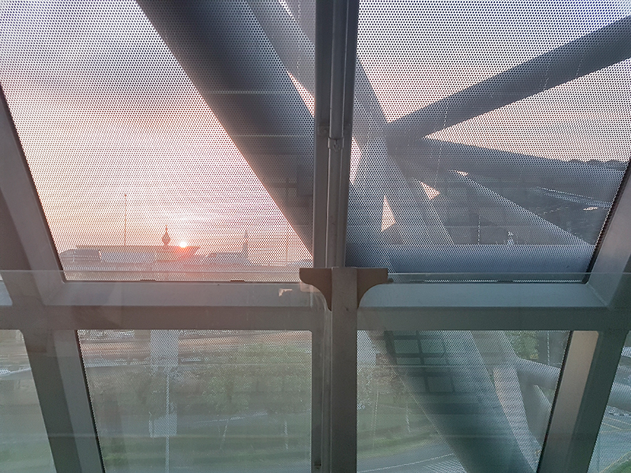 Sunrise at Suvarnabhumi airport in Bangkok, Thailand.