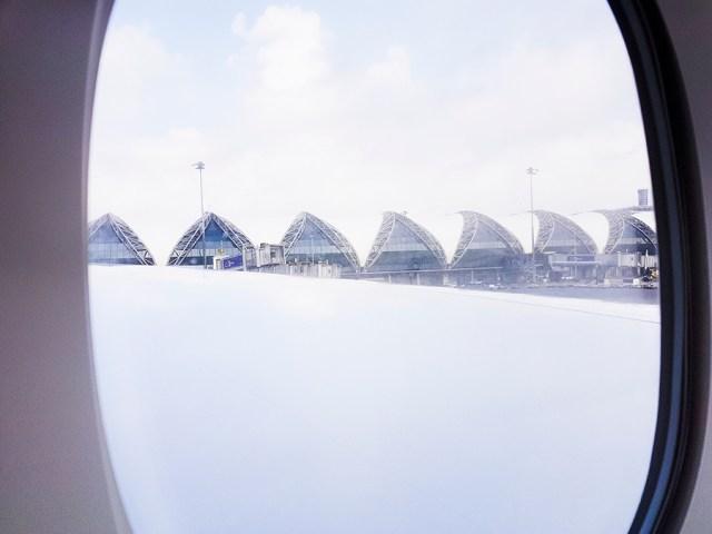 View of Suvarnabhumi airport in Bangkok, Thailand from the plane.