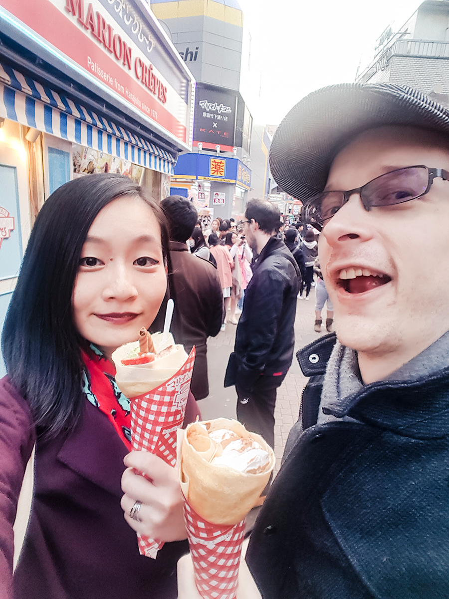 Ren and Ottie having Marion Crepes in Takeshita Street Harajuku Tokyo.