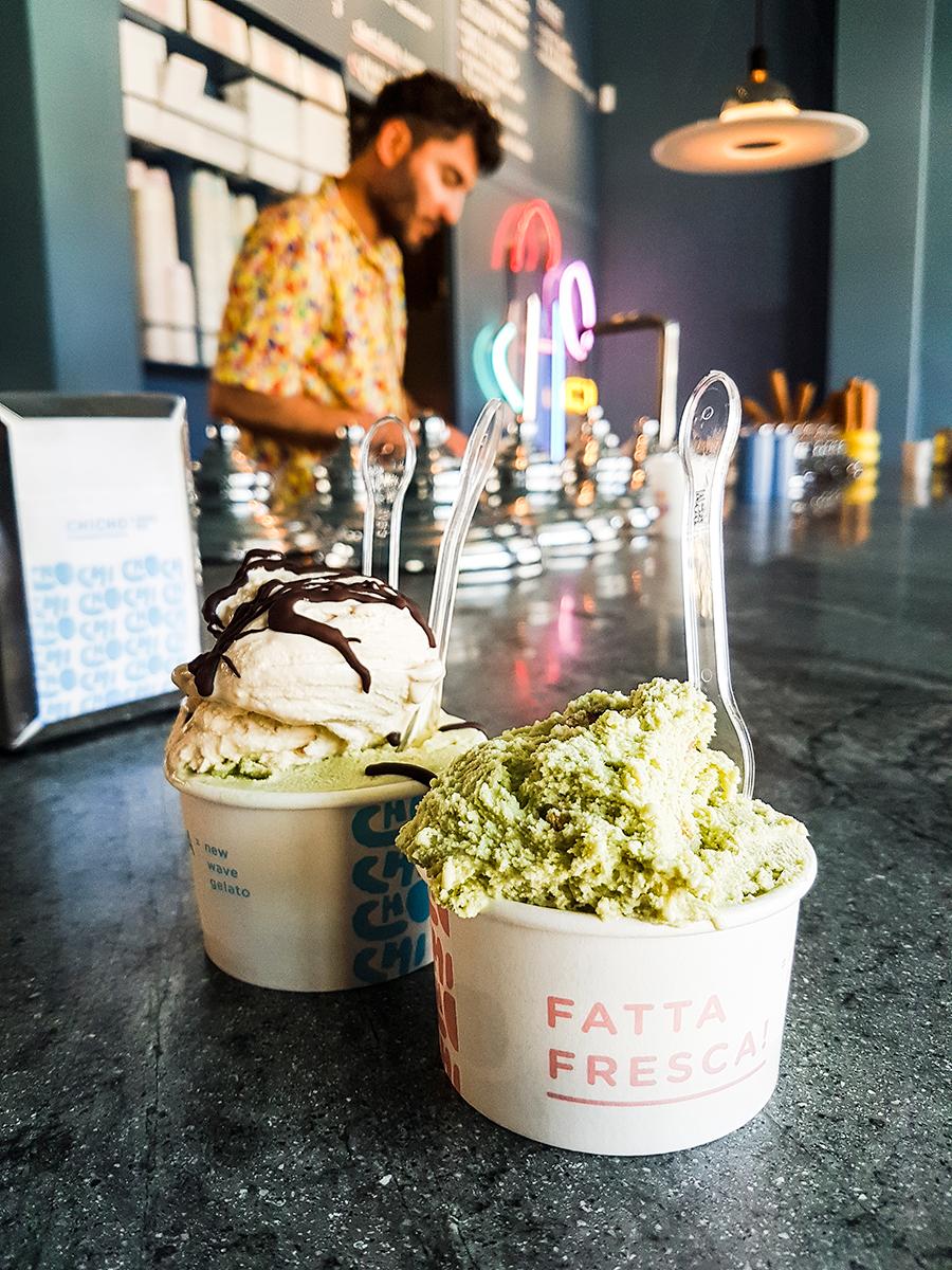 Pistachio gelato at Chicho Gelato, Perth Australia.