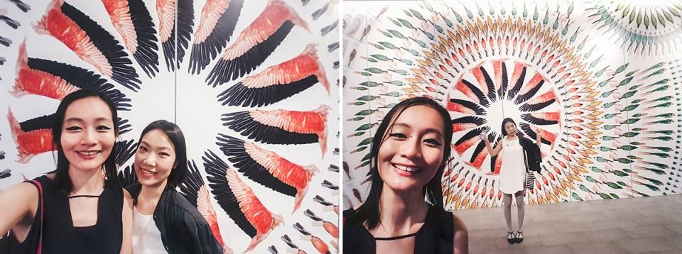 Selfie at mandala artwork in foyer of Lee Kong Chian Natural History Museum.