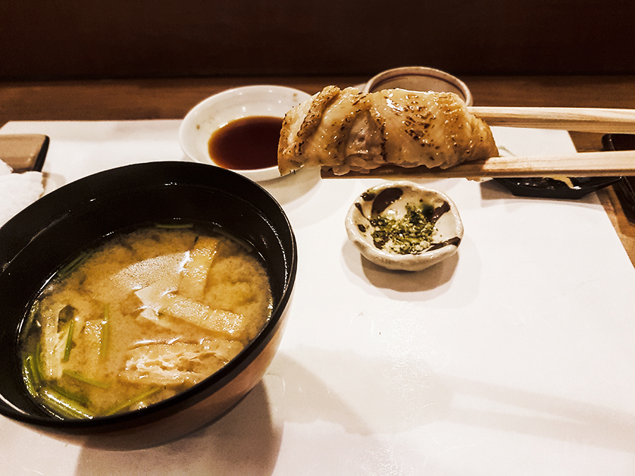 Miso soup and Anago sea eel in Makoto Sushi.
