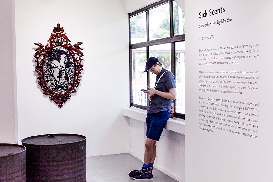 Thisguyah at the Mojoko 'Sick Scents' exhibit at Chan + Hori Contemporary.