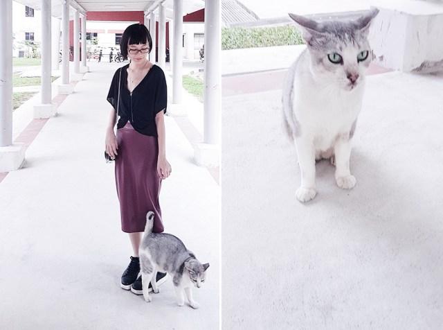 New neighbourhood cat and leatherette skirt ootd.