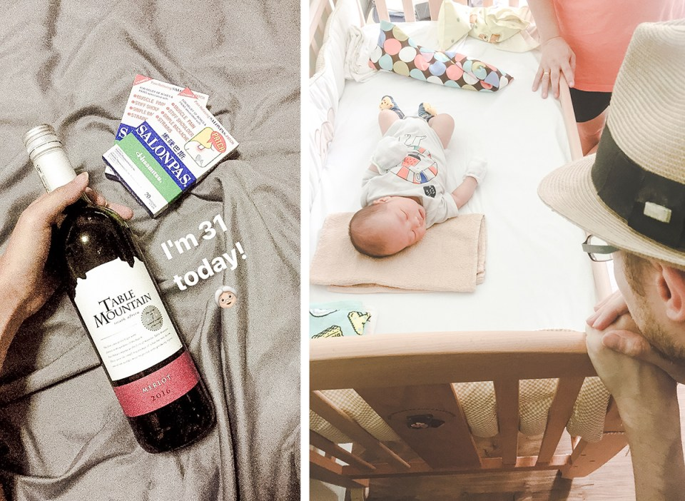 Celebrated getting older with Table Mountain wine and Salonpas. Celebrated baby Zac's first month.