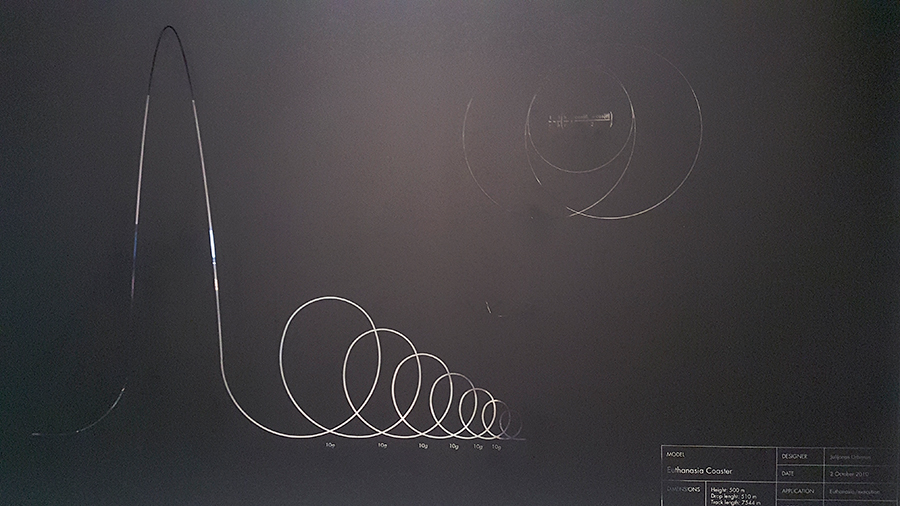 Technical drawing of the Euthanasia Coaster by Julijonas Urbonas at the HUMAN+ The Future of Our Species exhibition, ArtScience Museum Singapore.