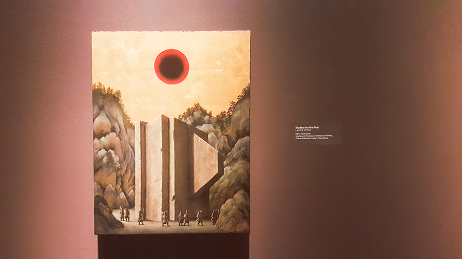 Studies into the Past by Laurent Grasso, Oil on Wood Panel, at the The Universe and Art: An Artistic Voyage Through Space exhibition, ArtScience Museum Singapore.