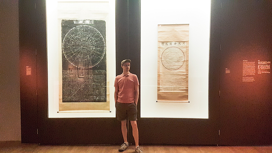 Star charts on display at the The Universe and Art: An Artistic Voyage Through Space exhibition, ArtScience Museum Singapore.