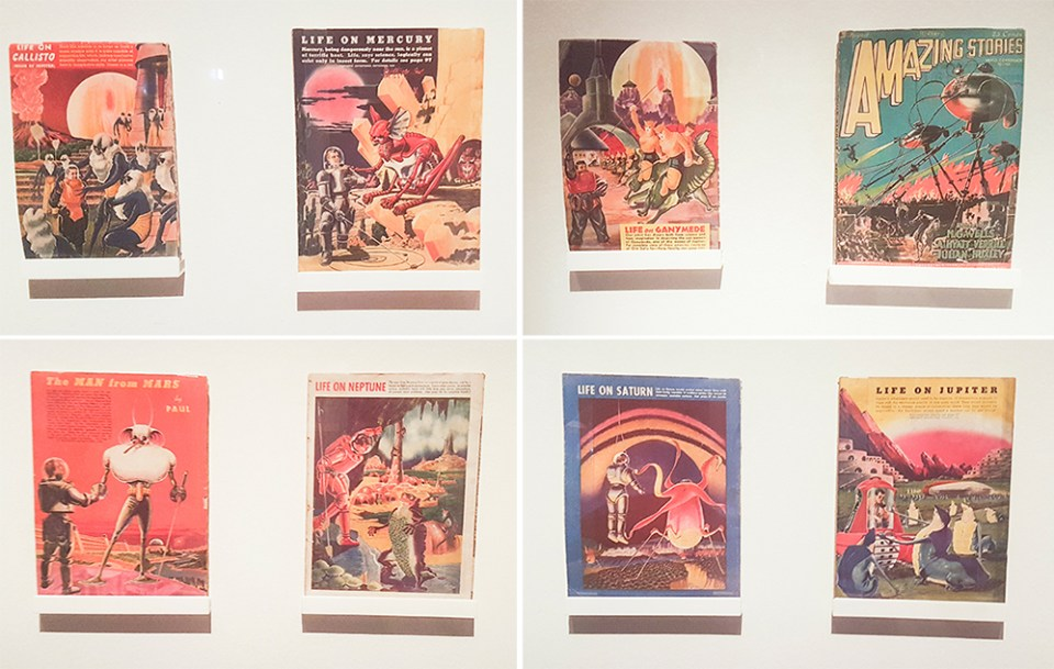 Sci-fi pulp fiction covers by Frank R. Paul at the The Universe and Art: An Artistic Voyage Through Space exhibition, ArtScience Museum Singapore.