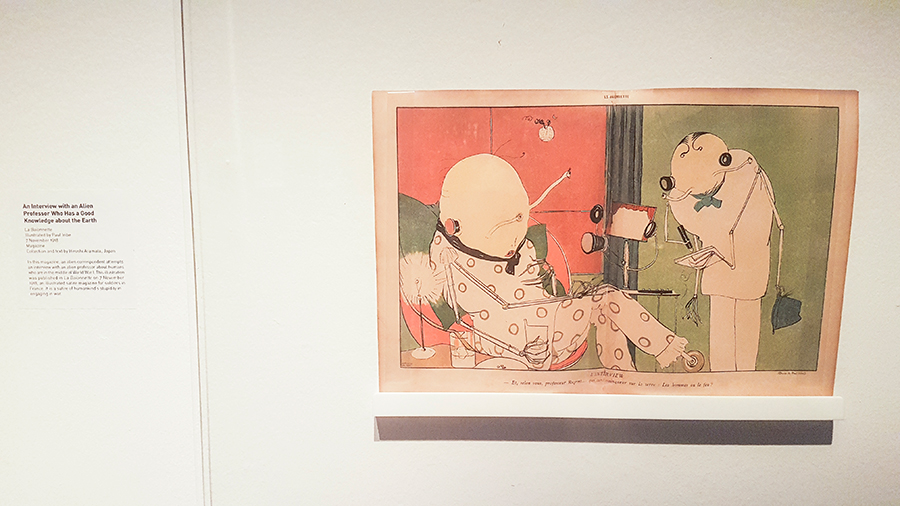 An Interview with an Alien Professor Who Has a Good Knowledge about the Earth, illustrated by Paul Iribe in 1918 at the The Universe and Art: An Artistic Voyage Through Space exhibition, ArtScience Museum Singapore.