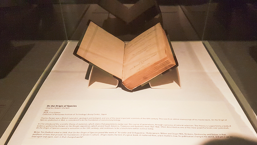 1859 first edition of Charles Darwin's On the Origin of Species at the The Universe and Art: An Artistic Voyage Through Space exhibition, ArtScience Museum Singapore.