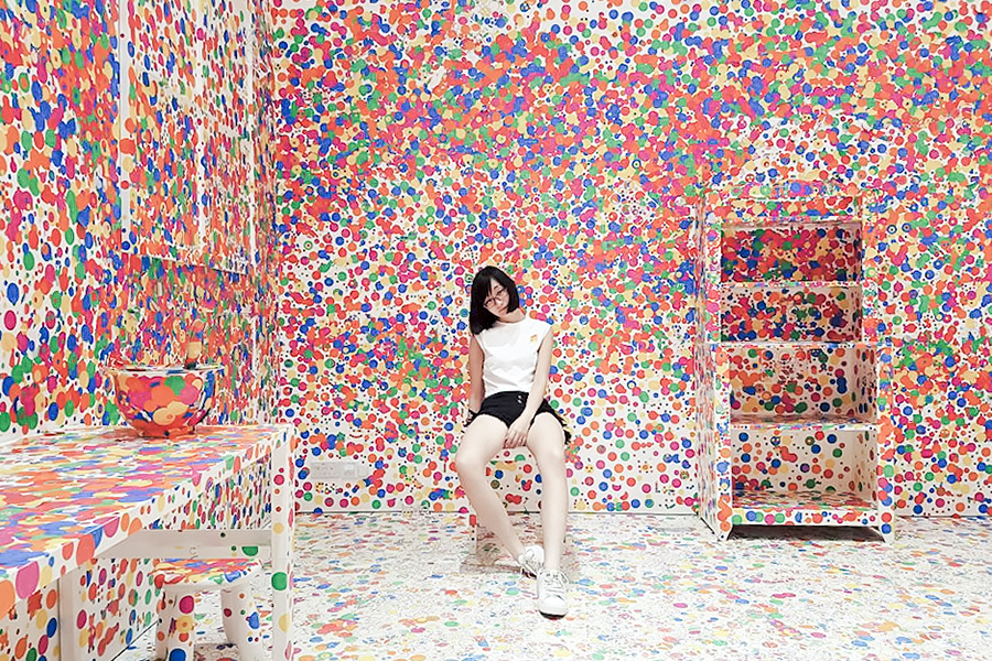 The Obliteration Room by Yayoi Kusama for the Children's Biennale at National Gallery Singapore.