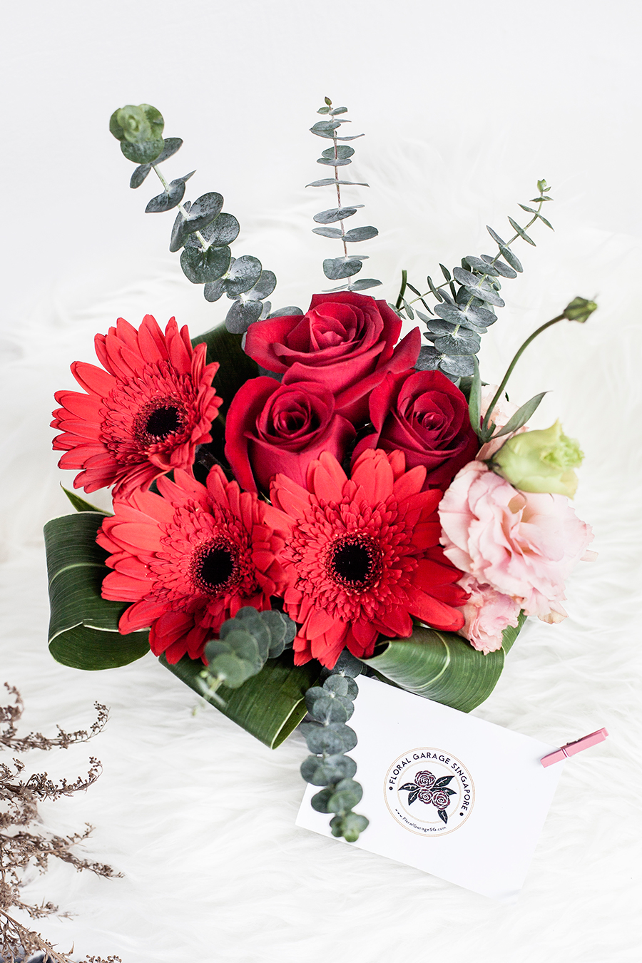 Floral arrangement from the Floral Garage SG Fruit Hamper.