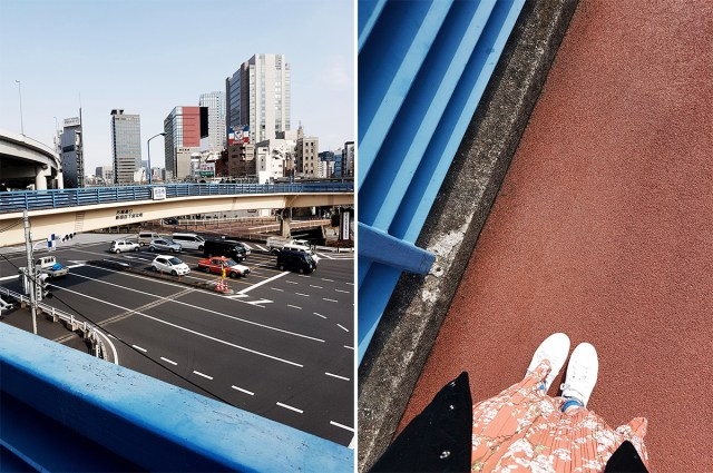 Long overhead bridge in Tokyo Japan.