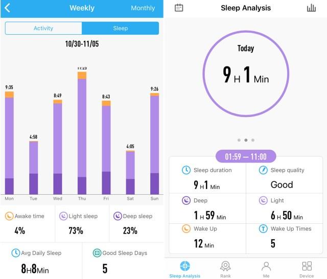 Lenovo Heart Rate Band G03: Sleep measurements.