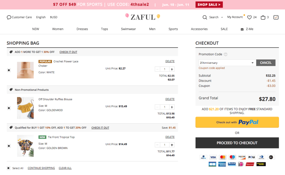 Zaful 4th Anniversary shopping cart.
