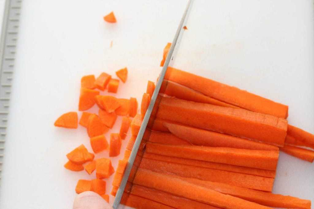 These carrots end up being chopped pretty darn small!