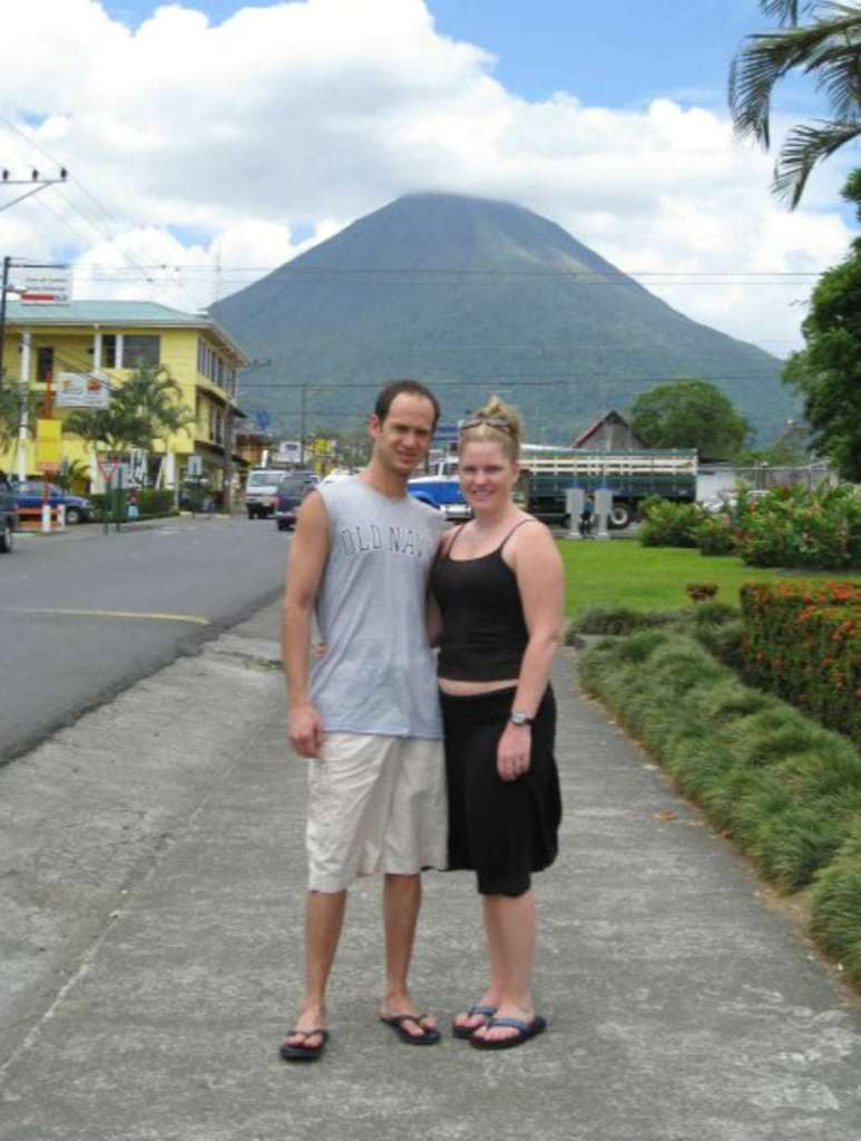 Here's my husband and I in front of Soda La Parada... clearly I overate and my shirt would no longer cover my belly. Not this first time!