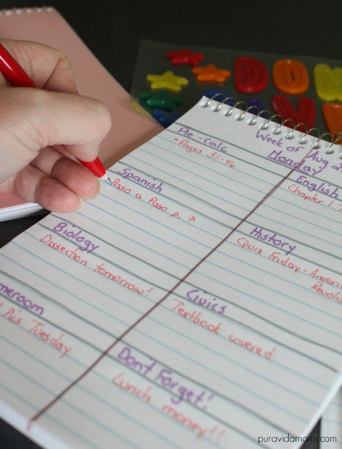 write the name of each class and assignment in the diy daily planner