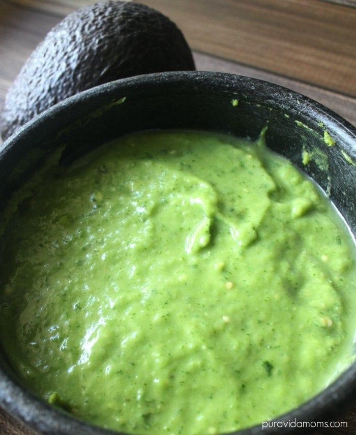 mexican style creamy avocado salsa