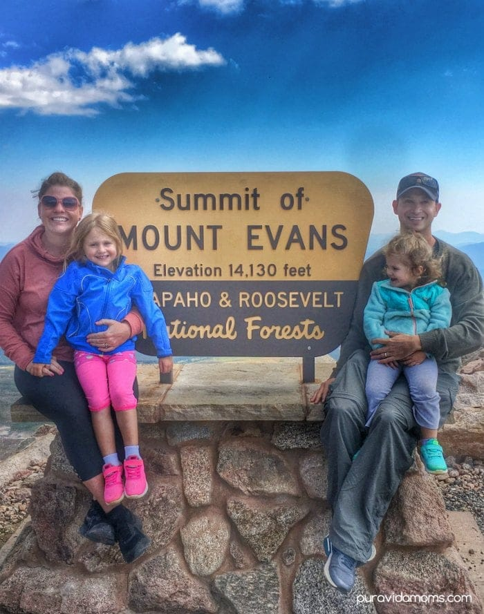 Family at the Summit of Mount Evans Colorado