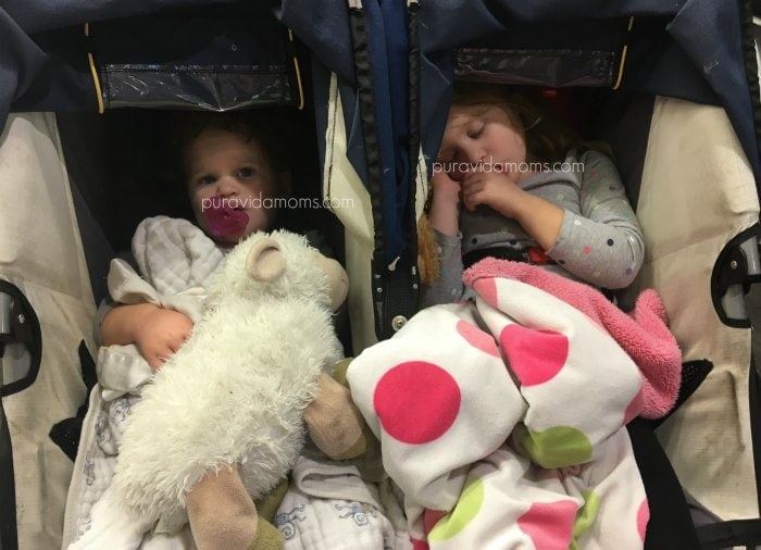 Kids napping in stroller