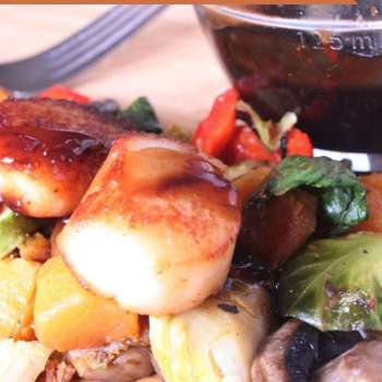Pan Seared Scallops With Roasted Vegetables Recipe
