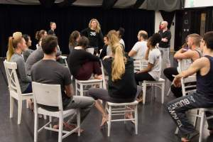 "Dancer and founder of The Seldoms Carrie Hanson conducted ""Bodies on the Gears"" dance workshop at Purdue"