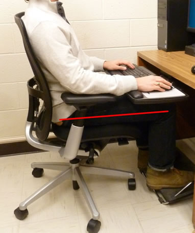 ergonomic chair with leg rest wh gunlocke ergonomics radiological environmental management purdue university photograph showing a worker at workstation using foot correctly their thighs are