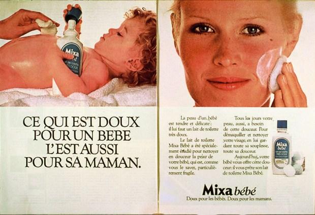 mixa-slogan-doux-pour-les-bebes-et-les-mamans pub vintage 1976