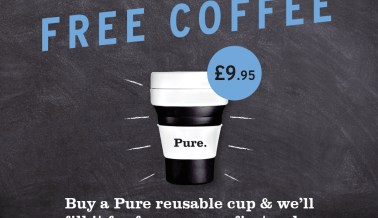 Free coffee when you buy a Pure reusable cup!