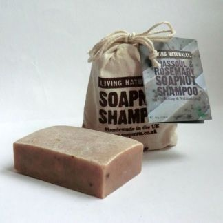 Living Naturally Rhassoul Clay Rosemary Soapnut Shampoo Bar