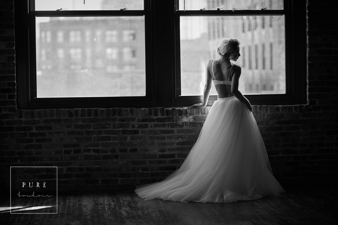 chicago boudoir black and white bridal - Natural Light Boudoir Photography - Chicago